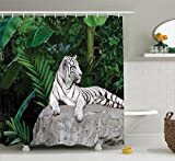 Safari Decor Shower Curtain Set By Ambesonne, White Tiger Setting On Stone Tropic Plants Leaves Jungle Majestic Creature Wildlife, Bathroom Accessories, 69W X 70L Inches