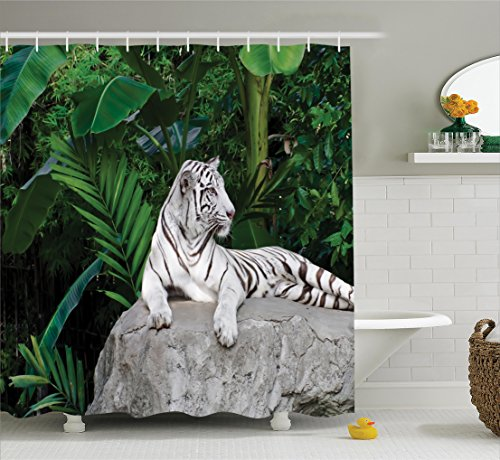 Ambesonne Safari Decor Shower Curtain Set, White Tiger Setting On Stone Tropic Plants Leaves Jungle Majestic Creature Wildlife, Bathroom Accessories, 69W X 70L Inches
