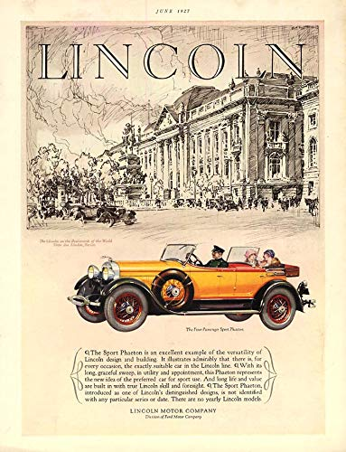 An excellent example of versatility Lincoln 4-Passenger Sport Phaeton ad 1927 HB ()