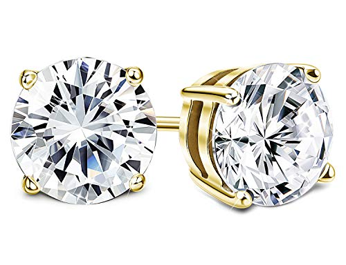 - Sllaiss Set with Swarovski Zirconia Stud Earrings for Women Made of Sterling Silver Round-Cut 4-Prongs CZ 1.00cttw~8.00cttw Hypoallergenic (gold-plated-silver, 1.00)