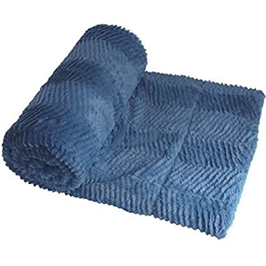 BOON Herringbone Brushed Throw with Faux Fur Sherpa Backing, 50  x 60 , Blue