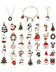 EBANKU 76Pcs Christmas Enamel Gold Charms for Jewelry Making, Assorted Gold Charms for Christmas DIY Necklace Bracelet Earrings Making Crafting Decoration