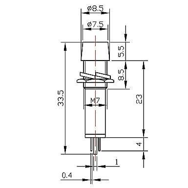 sourcing map Signal Indicator Dash Light DC 12V,LED Bulbs XD7-1 Red 7mm 9//32 Panel Mount 8Pcs