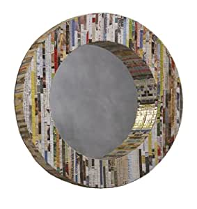 Linon Recycled Magazine Mirror, Round