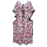 Womens Maxi Kaftan Dress Pink Floral Printed Cover up Beach Caftan Dresses