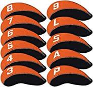 Craftsman Golf 11pcs/Set Neoprene Iron Headcover Set with Large No. for All Brands Callaway,Ping,Taylormade,Co