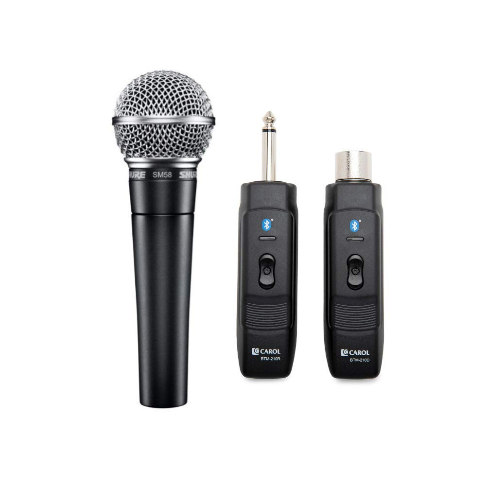 Shure SM58-LC Cardioid Dynamic Vocal Microphone with Knox Gear Microphone Wireless Adapter by Shure