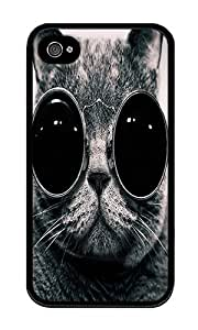 iPhone 4 Case,iPhone 4S Case,VUTTOO Stylish Cats With Glasses Soft Case For Apple iPhone 4/4S - TPU Black