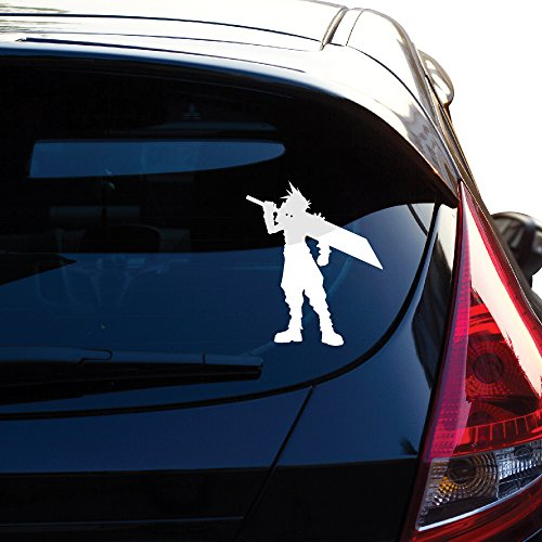 Final fantasy 7 decal inspired cloud sticker for car window laptop motorcycle walls mirror and more sku 474 4 height white