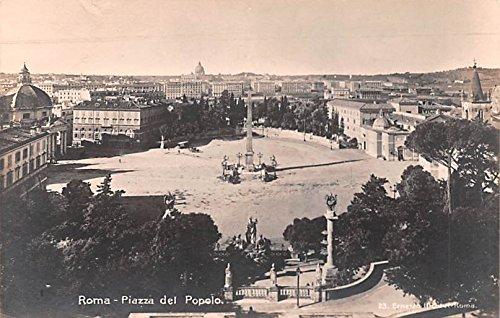 Piazza del Popolo Roma, Real Photo Italy Postcard