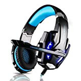 Gaming Headset,G9000 LED Light Gaming Headphone Stereo Noise Cancelling For PS4 PC Laptop Xbox One With Mic & Volume Control And 3.5mm Audio Splitter Cable (Black and Blue)