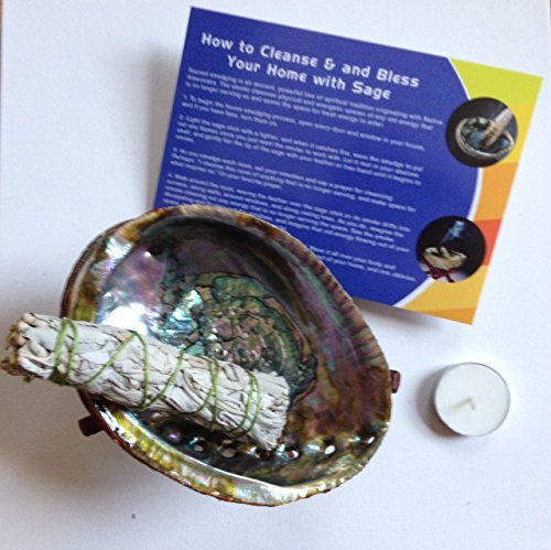 UPC 602401891913, -:- Home Cleansing & Blessing Package -:- Includes California White Sage Smudge Stick + Abalone Smudging Bowl + Wooden Stand + Tea Light Candle + Home Blessing Instructions -:-