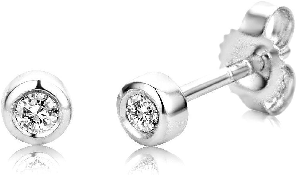 Miore Pendientes de Oro Blanco de 9K con Diamantes de 0.1 ct para Mujer