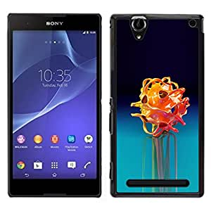 Sony Xperia T2 Ultra , JackGot - Impreso colorido protector duro espalda Funda piel de Shell (Blue Rose Flor Negro Oscuro)