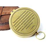 C Joybell C Love Across the Miles Romantic Engraved Solid Brass Compass with Leather Case .