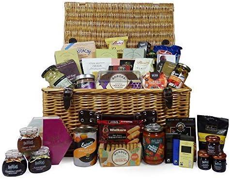 Mimbre grande '' Elementos básicos de la despensa '' Cesta de alimentos gourmet 38 Artículos: ideas de regalos para Navidad, regalos de cumpleaños, aniversario, él, ella, negocios y empresas