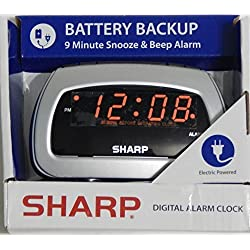Sharp LED Alarm Clock, Silver by Sharp