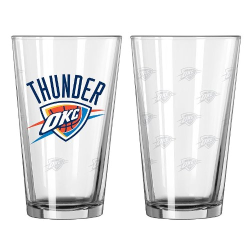 Thunder Satin (NBA Oklahoma City Thunder Satin Etch Pint, 16-ounce, 2-Pack)