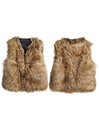 Unisex Baby Faux Fur Vest Warm Sleeveless Jacket