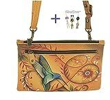Anuschka Large Smart Phone Case & Wallet Organizer Bag (Flying Jewels tan)