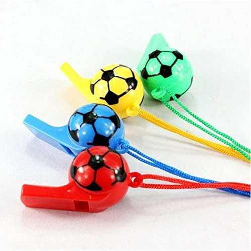 GREATLOVE 20Pcs Color Plastic Football Whistle Party Accessory(Random Color) Childrens Referee Whistle Toys