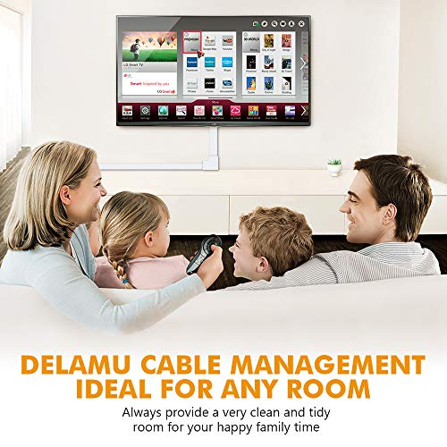 One-Cord Wire Hider, 157'' Cable Concealer Channel, Mini Cord Covers Raceway Kit, Cable Management System to Hide a Single Ethernet Cable, Speaker Wire, Floor Lamp Cord, 10PCS L15.7 X W0.59 X H0.4 by Delamu (Image #6)