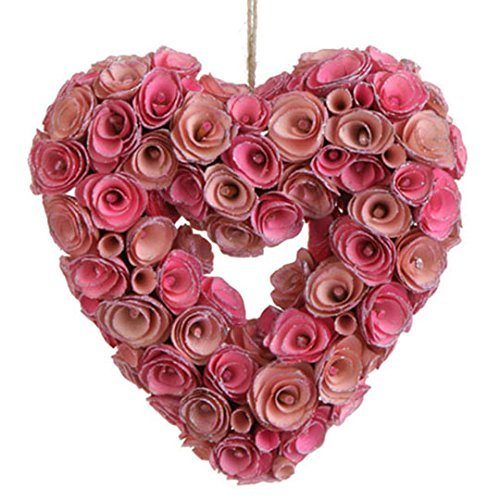 Pink Heart Rose Wreath   Willow Wood   Wall And Door Decor