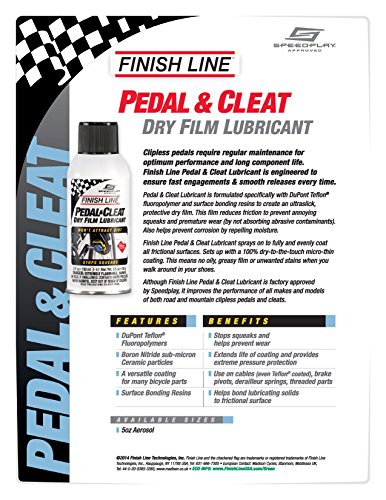 Finish Line Pedal and Cleat Dry Film Lubricant Aerosol, 5 Ounce