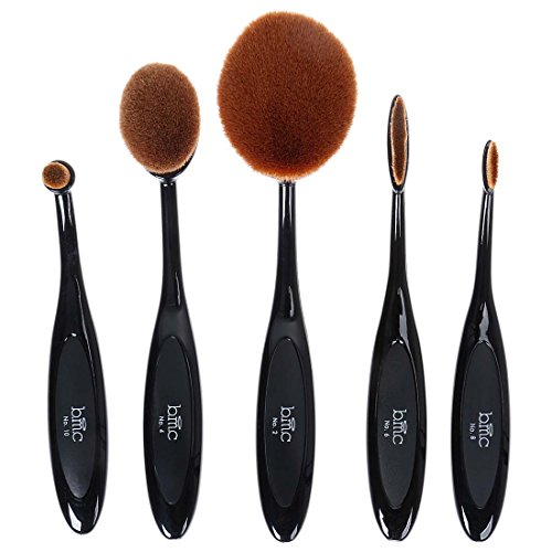 M A C Professional Makeup Brushes - BMC 5pc Luminous Perfecting Curve Makeup Brush Kit For Foundation Contouring Blending Highlighting Brow Work and More