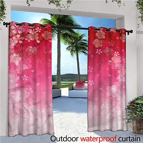 - warmfamily Asian Balcony Curtains Cherry Plum Romantic Floral Outdoor Patio Curtains Waterproof with Grommets W84 x L96