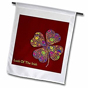 Houk Digital Design Holidays - St. Patricks Day - Text Luck of The Irish. Chic clovers (colorful) on dark red background - 18 x 27 inch Garden Flag (fl_41923_2)