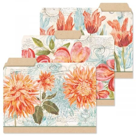 Floral Daydream File Folders- Set of 12 Letter Sized File ()