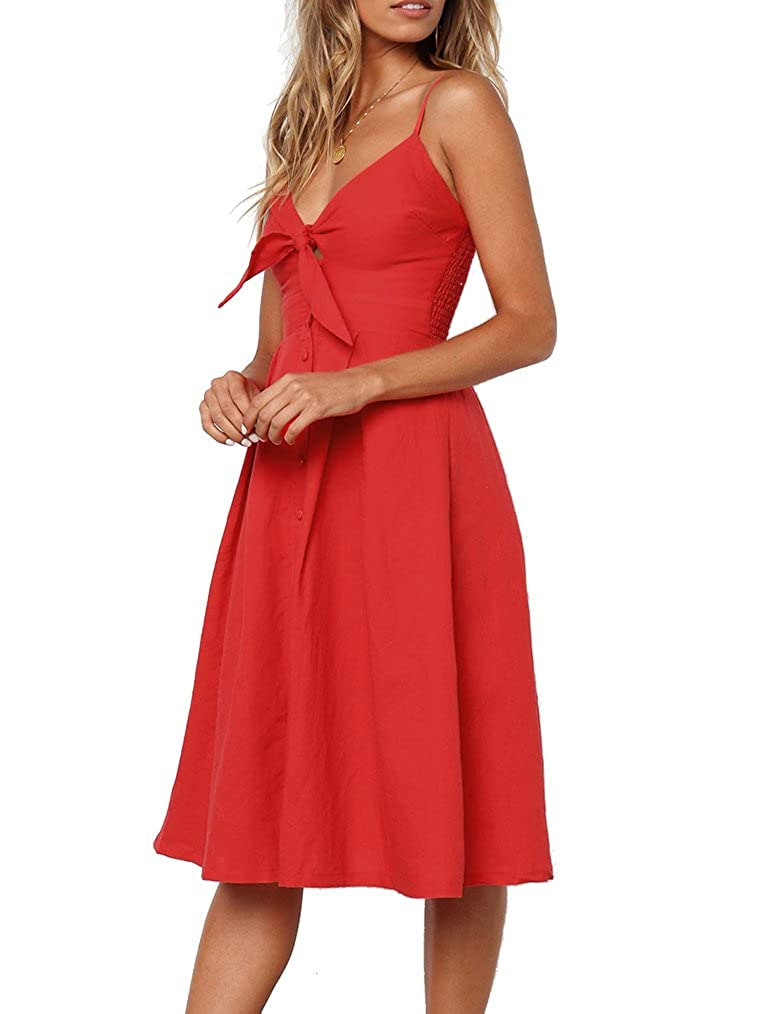 Feager Womens Summer Tie Front V-Neck Floral Spaghetti Strap Button Down  Backless Swing Midi Dress at Amazon Women s Clothing store  672f249cd