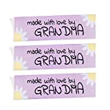 Wunderlabel Made with Love by Grandma Nana Grandmother Floral Crafting Fashion Woven Ribbon Ribbons Tag Clothing Sewing Sew Clothes Garment Fabric Material Embroidered Tags, Black on Pink, 25 Labels