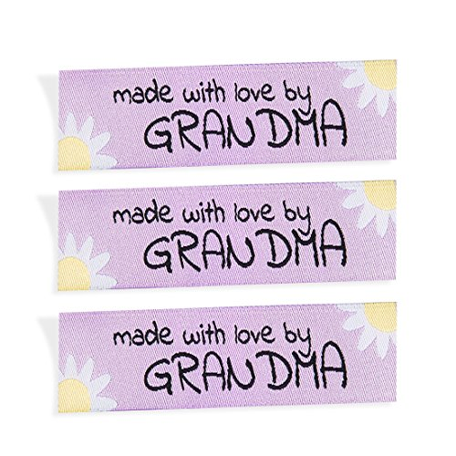 Wunderlabel Made with Love by Grandma Nana Grandmother Floral Crafting Fashion Woven Ribbon Ribbons Tag Clothing Sewing Sew Clothes Garment Fabric Material Embroidered Tags, Black on Pink, 25 ()