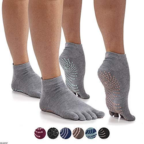 Gaiam Yoga Socks – Grippy Non Slip Sticky Full-Toe Grip Accessories for Women & Men