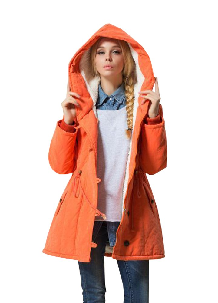 Eleter Women's Winter Warm Coat Plus Size Hoodie Parkas Overcoat Fleece Outwear Jacket with Drawstring (2X-Large,Orange)