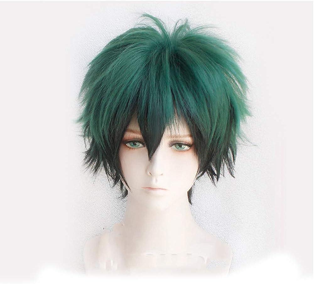 FangjunxianST My Hero Academia Izuku Midoriya Cosplay Full Wigs Short Green Black Hair