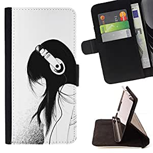 For Apple iPod Touch 6 6th Generation Music Girl Headphones Minimalist Sad Style PU Leather Case Wallet Flip Stand Flap Closure Cover