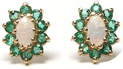 9ct Yellow Gold Real Opal /& Emerald Stud Earrings New
