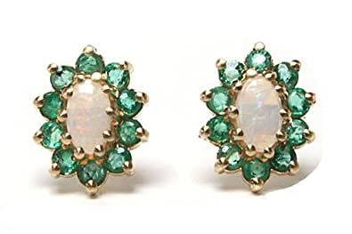 d849845f0 9ct Gold Opal and Emerald Oval Cluster stud earrings: Amazon.co.uk:  Jewellery