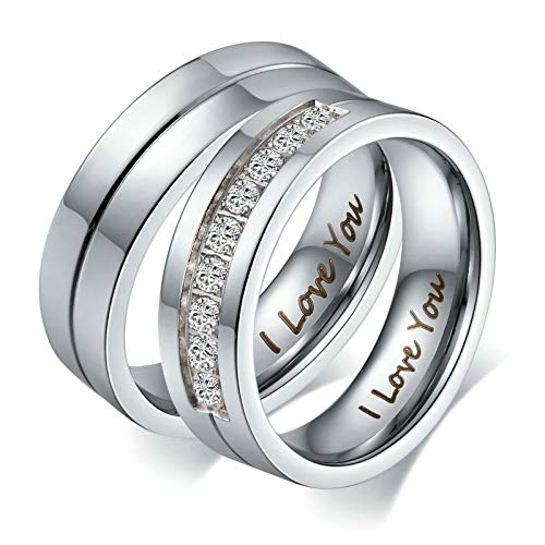 Aeici Stainless Steel Couple Rings Wedding Bands for Women Ring - Silver, Size 9 ()