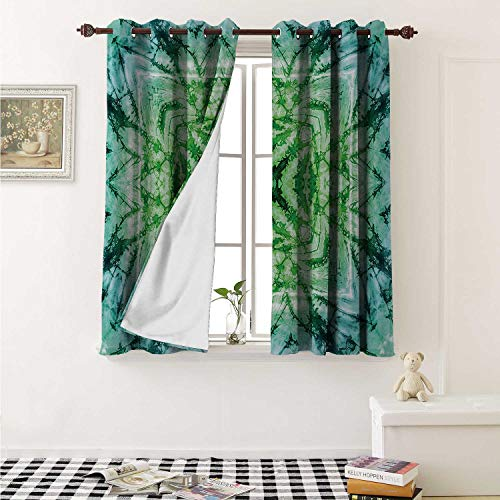 shenglv Psychedelic Waterproof Window Curtain Abstract Square Shaped Kaleidoscope with Murky Psychedelic Expansions Pattern Curtains for Party Decoration W84 x L72 Inch Green Teal