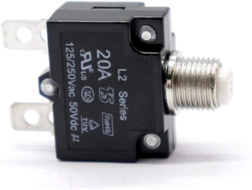 250VAC 50 QWORK 2 Pack 15A Thermischer Schutzschalter 60Hz Thermoschalter Reset mit Schnellanschlussklemmen und wasserdichter Knopfkappe 32V DC 125