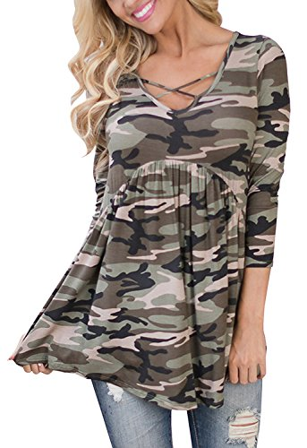Liyuandian Womens 3/4 Sleeve Peplum Tunic Tops Babydoll Casual Camo Shirt with Ruffle (Cute Camo Clothes)