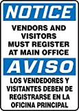 Accuform VENDORS AND VISITORS MUST REGISTER AT MAIN OFFICE (BILINGUAL) (SBMADC838XL)
