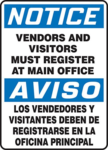 Accuform VENDORS and Visitors Must Register at Main Office (Bilingual) (SBMADC838XF) by Accuform (Image #1)