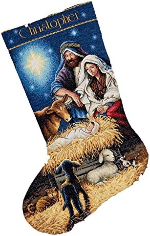 """Dimensions Holy Night 16/"""" Stocking Cross-Stitch Gold Collection Christmas Jesus"""