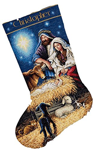 Stocking Embroidery Design (Dimensions Needlecrafts Counted Cross Stitch, Holy Night Stocking)