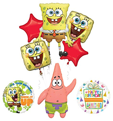 Spongebob Squarepants Birthday Party Supplies and Soak It Up Balloon Bouquet Decorations]()